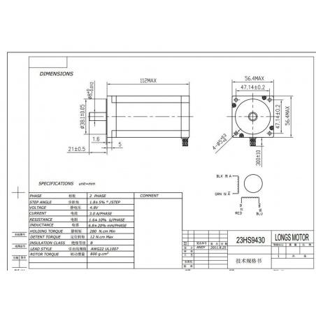 Stepper Motor - Nema23 23HS9430 (57BYGH) 425oz