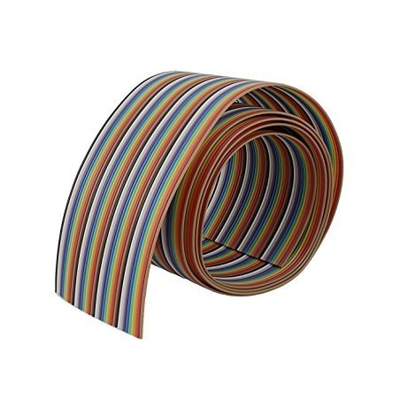 Ribbon Cable, Color Coded Flat, Multi-colored, 40 Conductor, 28 AWG, 0.5m