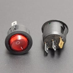 AC Mains Power Switch Round: RED