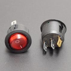 AC Mains Power Switch Round: RED