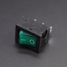AC Mains Power Switch Rectangle: Green