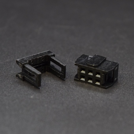 Female IDC socket: 2x3-Pin, 2.54 mm