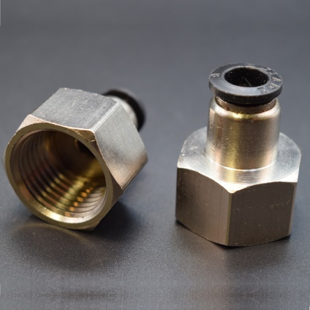 Pneumatic tube fitting: 6mm, threaded, 3/4 inch straight pipe connector