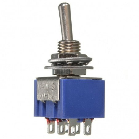 DPDT Toggle Switch- 6 Pin ON-ON, AC 250V-3A/120V-6A