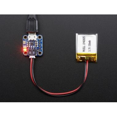 Adafruit Micro-Lipo Charger for LiPoLiIon Batt wMicroUSB Jack - v1