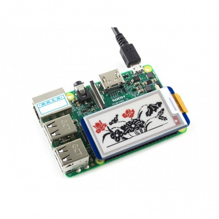 212x104, 2.13inch E-Ink display HAT for Raspberry Pi, Red/Black/White