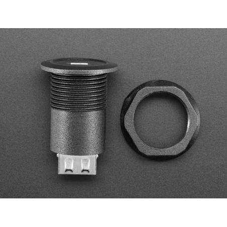 Micro USB B Jack to USB A Plug Round Panel Mount Adapter