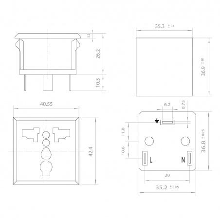 3 pin Universal Electrical Power Socket - Black