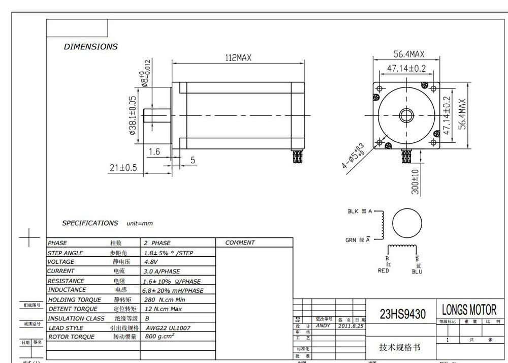 23HS9430 Dimension and Wiring stepper motor nema23 23hs9430 (57bygh) 425oz longs stepper motor wiring diagram at reclaimingppi.co