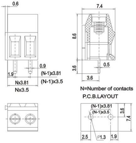 KF124-2pin Dimensions